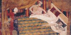 gonnella bicolore in Memmo di Filippuccio, ciclo di affreschi sul tema della vita matrimoniale (1300-1310).