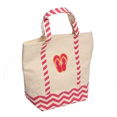 Flip Flop Canvas Tote Bag Pink