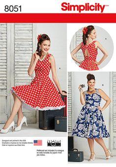 Simplicity Women's Plus Size Rockabilly Dress Sewing Pattern, 8051 at John Lewis & Partners Plus Size Patterns, Simplicity Sewing Patterns, Dress Sewing Patterns, Vintage Sewing Patterns, Pattern Sewing, Look Vintage, Vintage Mode, Vintage Style Dresses, Dress Vintage