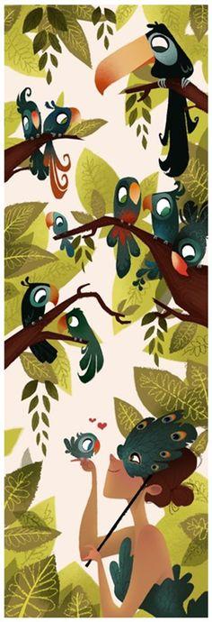 Exotic Birds Print by Brittney Lee Illustration Blume, Illustration Vector, Brittney Lee, Doodle Drawing, Drawing Art, Illustrator, Art Africain, Motif Floral, Exotic Birds