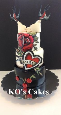 "Mother's Day cake with a ""Tattoo"" theme. Good ideas for a Rockabilly wedding cake, love the black tier with cherries! Rockabilly Pin Up, Rockabilly Wedding, Cupcakes, Cupcake Cookies, Beautiful Cakes, Amazing Cakes, Tattoo Cake, Tattoo Themes, Painted Cakes"