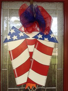 Fourth of July patriot fireworks door hanger by samthecrafter, $37.00