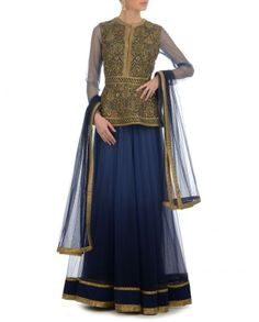 Blue Lehenga Set with Peplum Embroidered Top - JJ Valaya - Designers