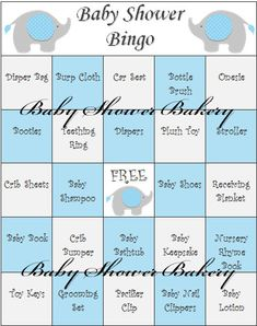 Blue Elephant Baby Shower Game Elephant Baby by BabyShowerBakery, $15.00