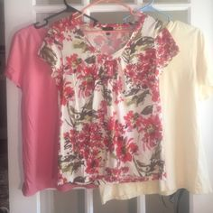 Lot of 3 talbots small petites floral yellow Bargain ! Lot of three talbots small petite. Floral yellow and pink. Two v neck and one crew. Talbots Tops Tees - Short Sleeve