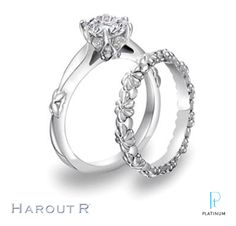 Harout R floral-inspired platinum and diamond engagement ring and wedding band