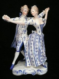Antique Rare Lg KISTER German Porcelain Dresden Victorian Couple ... This is so beautiful..what grave and movement they have captured.