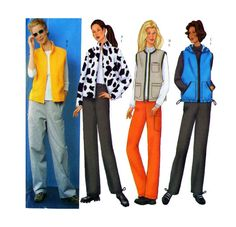 Women Sporty Coordinates Butterick 6712: Loose Fit Lined Zip Front Jacket or Vest High Collar or Hood, Drawstring Pants Sz 12-14-16 - UNCUT