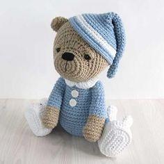 Sleepy teddy in pajamas amigurumi pattern by Kristi Tullus