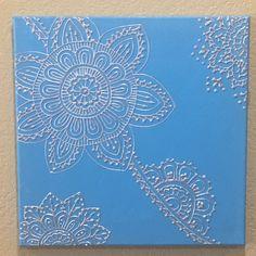 Blue and Silver Mehndi Style Mehndi Painting Henna by GonzSquared #henna #mehndi #mixedmedia #hennapainting #mehndipainting #hennadesign #mehndidesign