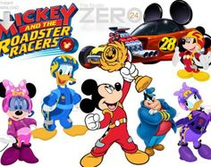 24 Disney Junior Mickey and the Roadster Racers Digital Clipart & Mirror Images Iron-on for Instant Download - 72-300DPI