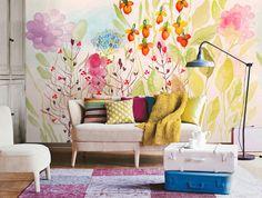 Aquarelle jardin frais printemps fleurs & feuilles par DreamyWall