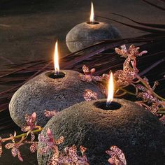 Stone Boulder Candles - beautiful mood lighting. Organic form, natural rock-like texture.  Functional art for the home.  Handmade in Australia