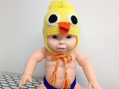 Yellow baby chick 1 Hat-3 months by CreationPatchworkEwa on Etsy