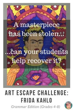 Fun, engaging, memorable! Grammar escape room review (grades 4 - 8) that challenges students to follow the clues, solve the puzzles, and recover a stolen Frida Kahlo painting for their classroom! #artwithjennyk #brainwavesinstruction