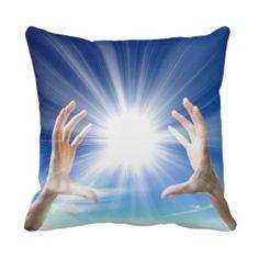 White flame light healing hands,healer,heal,energy throw pillow