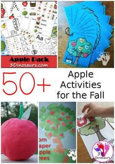 50+ Apple Activities For the Fall: crafts, sensory bins, hands-on activities, printables and more - 3Dinosaurs.com