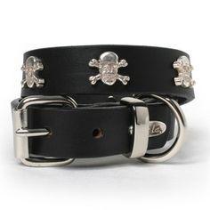 Silver Skulls Leather Dog Collar