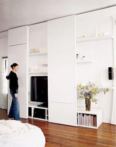 gorgeous 40 Graceful Hidden Tv Storage Design Ideas To Try Asap Wooden Sliding Doors, Sliding Panels, Sliding Wall, Ceiling Storage, Tv Storage, Record Storage, Wall Shelving, Shelves, Storage Design