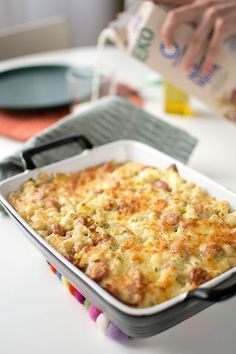 Makaronilåda med korv Swedish Recipes, Recipe For Mom, Lchf, Food Inspiration, Macaroni And Cheese, Sausage, Dinner Recipes, Food And Drink, Eat