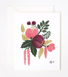 Raspberry Floral Card from Rifle Paper Co - framing for my girly study