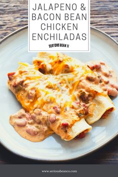 This hearty chicken enchilada recipe will soon become your new family staple. Sour cream adds creaminess to the tangy enchilada sauce while the savory Jalapeno and Bacon beans add just a touch of heat. Baked Beans With Bacon, Stuffed Jalapenos With Bacon, Recipe Filing, Enchilada Sauce, Chicken Enchiladas, How To Cook Chicken, Casserole Recipes, Sour Cream, My Recipes