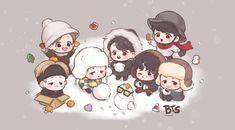 Cute Drawlings, Bts Cute, Cute Art, Hoseok Bts, Bts Jungkook, Bts Laptop Wallpaper, Chibi Bts, Jimin Fanart, Kpop Fanart