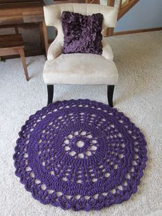 Doily Rug in Purple Crochet round carpet/rug in by Bluetulipgifts
