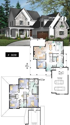 Discover the plan 3830 - Turningdale from the Drummond House Plans house collection. Traditional home with wraparound porch, 4 to 5 bedrooms, garage, home office, large bonus space. Sims 4 House Plans, House Layout Plans, New House Plans, Dream House Plans, Modern House Plans, House Layouts, House Floor Plans, Dream Houses, Casas The Sims 4