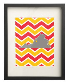 Virginia Military Institute (VMI) Virginia State Map 8x10 Chevron Print on Etsy, $15.00