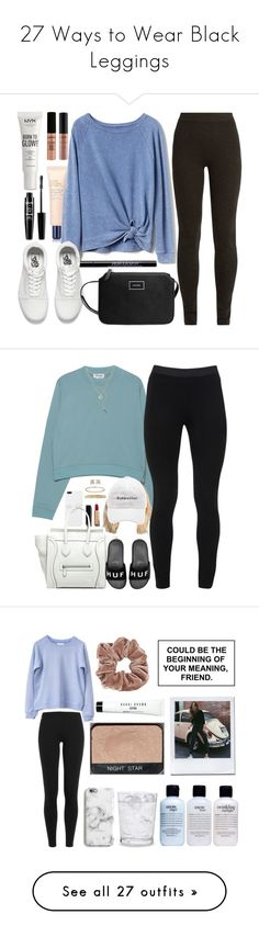 """27 Ways to Wear Black Leggings"" by polyvore-editorial ❤ liked on Polyvore featuring Leggings, waystowear, NYX, Estée Lauder, Gap, Urban Decay, Ryan Roche, Vans, MANGO and Chanel"