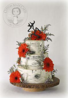 Rustic Birch Bark Wedding Cake.  Hunter Orange Gerbera Daisies.