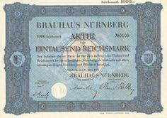 Nürnberg Brauhaus Nürnberg Aktie 1000 RM 1930