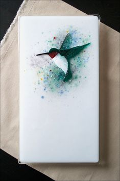 "https://flic.kr/p/S5p2KZ | Hummingbird Panel | Fused Glass 7"" X 13"""