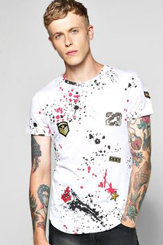 Skater Length Splatter Badge T Shirt at boohoo.com