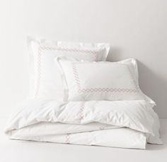 RH TEEN's Embroidered Ogee Fretwork Duvet Cover:Simply stylish. Our collection's embroidered fretwork design against a crisp white cotton background was inspired by vintage linens from luxury hotels.