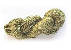 Hand-painted limited-edition luxury 100% silk yarn in Golden Sage