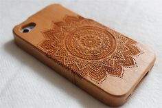 Wood iphone 5 case  Engraved Mandala wood iphone 5s by Janecases, $23.85