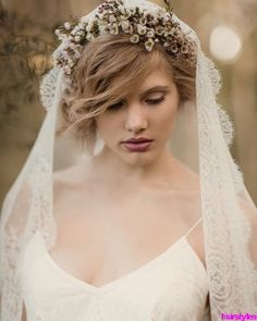 wedding hairstyles flowers short hair and veil