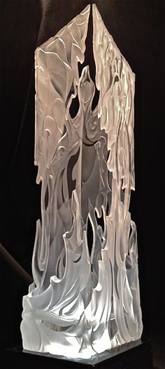 """""""Phoenix Fire"""" - Sandblasted Glass, in Sandblasted Three Dimensional Glass.  Winning First Place & Peoples Choice awards for cold working glass at the Las Vegas Glass Expo's Gallery of Excellence."""