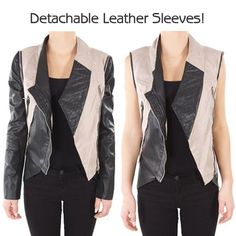 Walter Jacket with Detachable Leather Sleeves to convert into a Vest!!