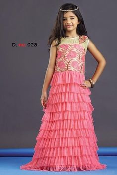 5b0ba7fca4d Bebo Fashions- Pink Net And Silk Party Wear Kids Gown INR1400 -  BEBO