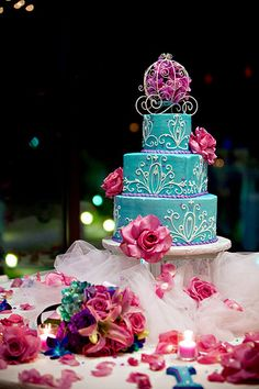 Blue and pink wedding cake.