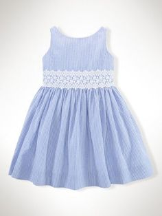 Cotton Seersucker & Lace Dress - Girls 2-6X Dresses & Skirts - RalphLauren.com