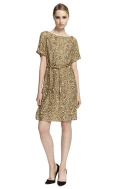 Marchesa Embroidered Gold Tunic With Self-Belt S/S 2013