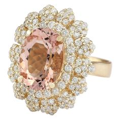 Carat Natural Pink Morganite and Diamond FG Color Clarity Yellow Gold Luxury Cocktail Ring for Women Exclusively Handcrafted in USA *** Visit the picture web link more information. (This is an affiliate link). Morganite Jewelry, Morganite Ring, Gold Diamond Rings, Cocktail Rings, Natural Diamonds, Heart Ring, Gemstones, Clarity, Pink