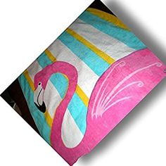 """Custom & Luxurious {30"""" x 60"""" Inch} 1 Single Large & Thick Soft Summer Beach & Bath Towels Made of Quick-Dry Cotton w/ Cartoon Detailed Flamingo Standing Stripped Background [Pink, Yellow & Blue]"""