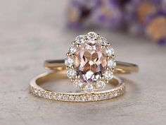 2pcs 6x8mm Oval Pink Morganite engagement ring with moissanite