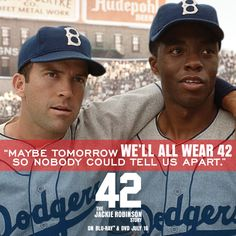 In a game divided by color, he made us see greatness. #Dodgers #JackieRobinson #42Movie 3PeeWeeReese #ChadwichBoseman www.facebook.com/42movie