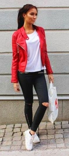 Red Biker Jacket, White Tee, Black Ripped Jeans, White Sneakers | Emilia Angergard
